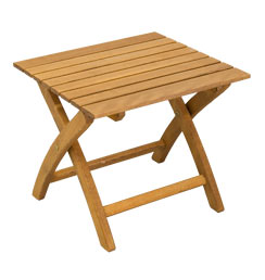 Stabiler Holz Klapphocker & Beistelltisch braun